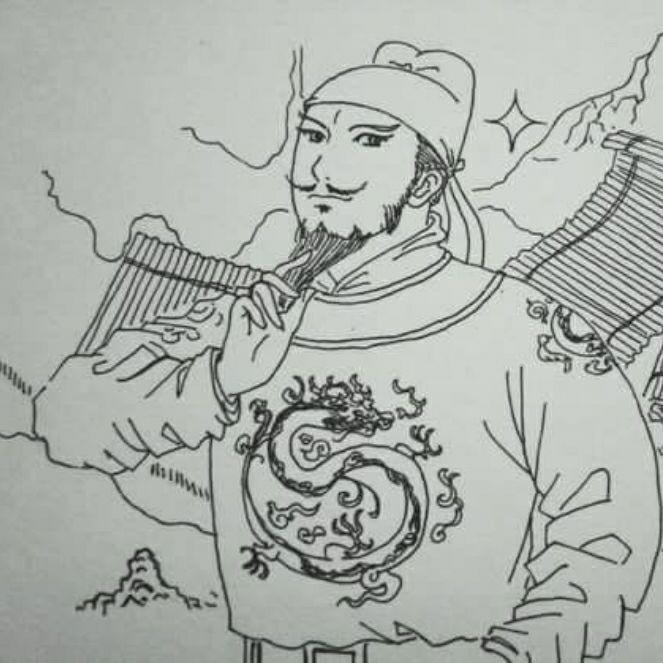 汉服手绘铅笔画