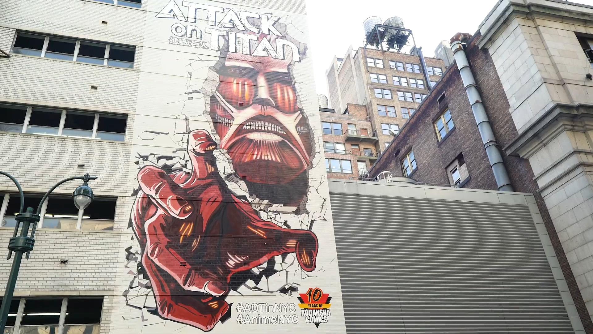 进击的巨人 纽约 麦迪逊花园广场 壁画ニューヨークの壁に「進撃の巨人」を描いてみた!メイキング2/We drew 'Attack on Titan' on the wall in New York [making2].mp4_000047.444