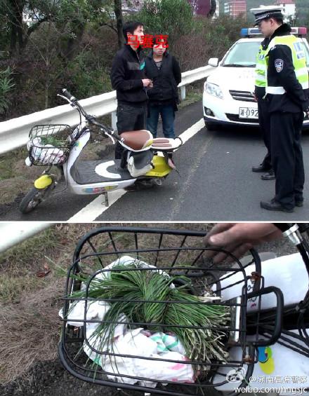 骑电动车上高速!只为挖葱?
