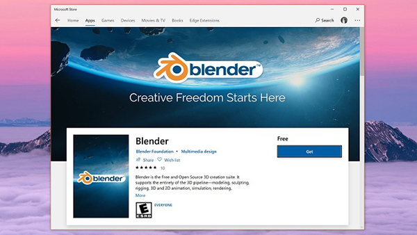 开源3D创作软件Blender现已登陆Win10应用商店的照片