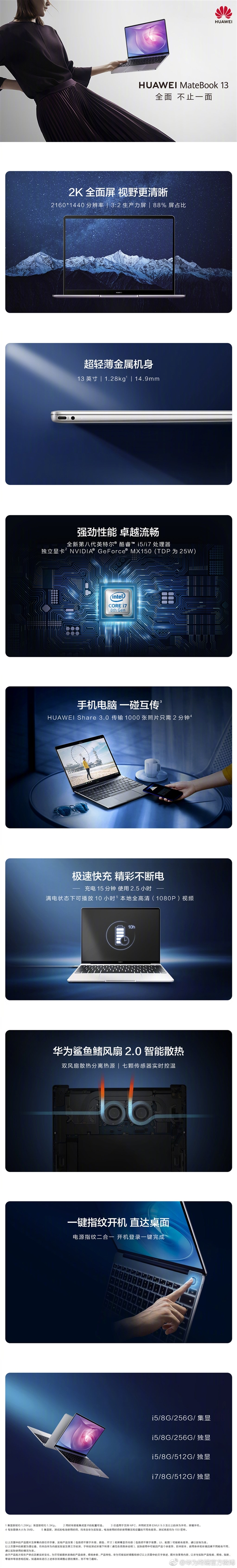 华为发布MateBook 13全面屏轻薄本 顶配6399元的照片 - 6