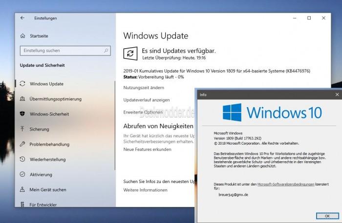 KB4476976重发 Win10版本号升至Build 17763.292的照片 - 2