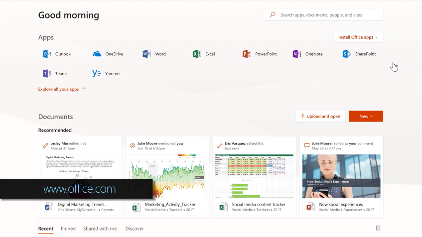 三月开始Office.com将成为Office 365用户的默认登录页面的照片