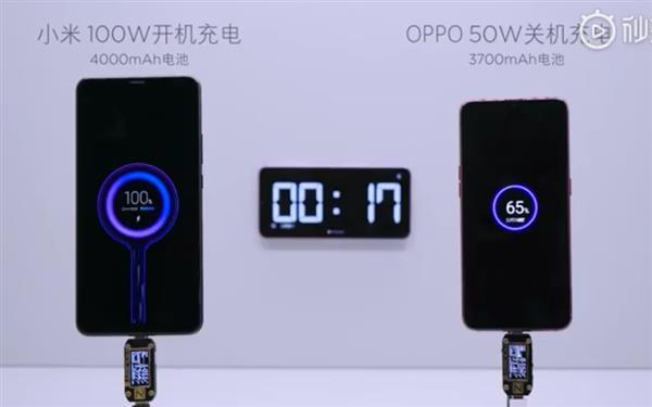"""小米展示100W超级快充性能对比 OPPO称其""""无聊""""的照片 - 1"""