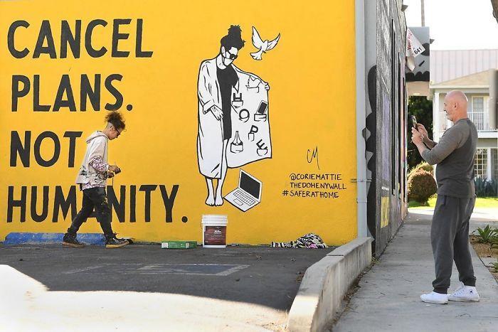 全球新冠肺炎疫情下世界各地的街头涂鸦艺术插图(6)