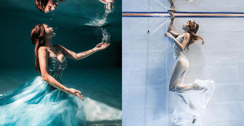 潜水教练柔e人鱼公主姿态好优雅水底下的身材太性感