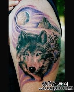 一幅呆呆的狼头作品手臂纹身图案大全