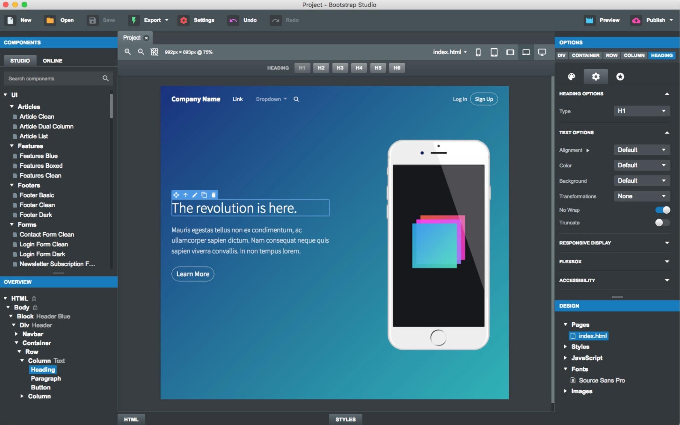 Bootstrap Studio 5.1.1 网页设计工具-马克喵