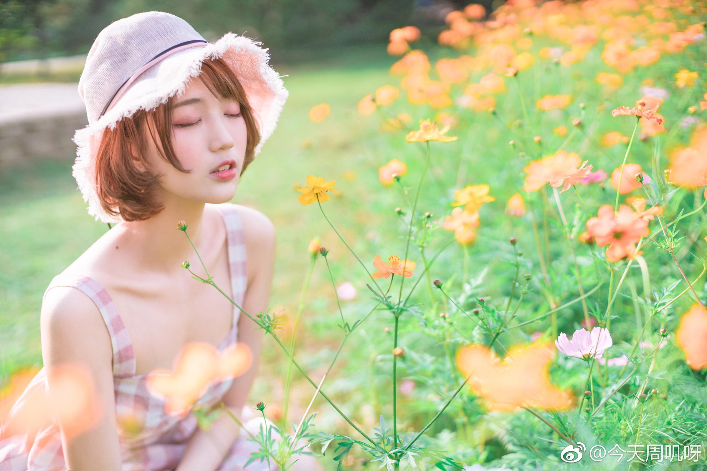 天气太好了,想拽你的衣角出门。人们看花,我看你。插图