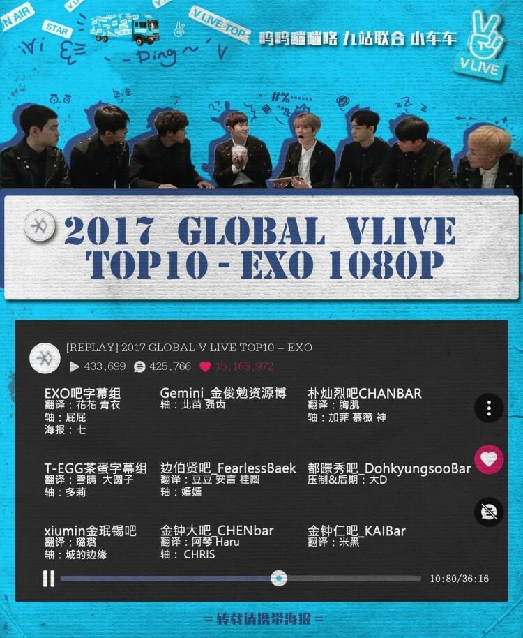 2017 GLOBAL VLIVE TOP10-EXO中字