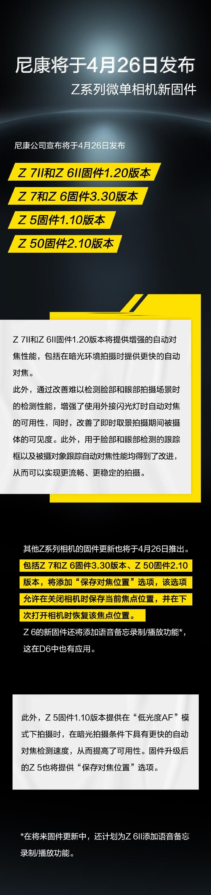 尼康公司宣布将于4月26日发布Z 7Ⅱ和Z 6Ⅱ固件1.20版本、Z 7和Z 6固件3.30版本、Z 5固件1.10版本、Z 50固件2.10版本-玩懂手机网 - 玩懂手机第一手的手机资讯网(www.wdshouji.com)