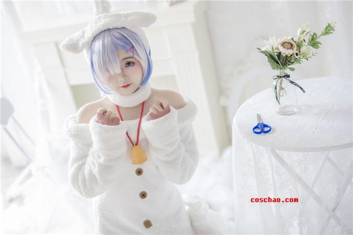 小奶糕Milky新图蕾姆小绵羊cosplay